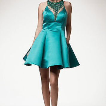 Designer Exquisite Beaded Teal Short Prom Dress Homecoming Cocktail Evening