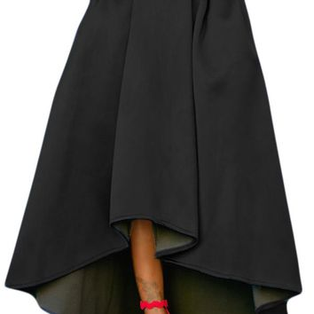 Black Asymmetric High-Low Hem Maxi Prom Skirt