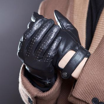 HONERCOO Men's Fall and Winter Genuine Leather Gloves New Fashion Brand Black Warm Driving Unlined Gloves Goatskin Mittens