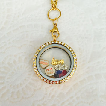 Large 30mm stainless steel gold mom memory locket For Mom with choice of stainless steel chain