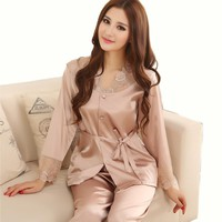 Lovers Sleepwear Silk Pajamas Lounge Set Women Men Champagne