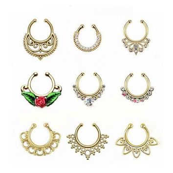 2pcs/lot Christmas punk taboo gold none piercing fake septum nose ring clip silver indian fake crystal nose stud