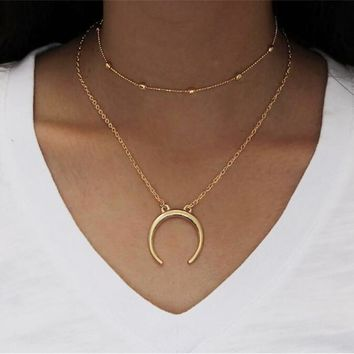 Crescent Moon Horn Boho Double Layer Choker Pendant Necklace Chain Jewelry Gift