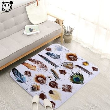 Autumn Fall welcome door mat doormat PEIYUAN Colorful Feather Design Anti-slip Big Size Flannel Floor Mat Soft Rugs s 60x60 80x80 100x100CM AT_76_7