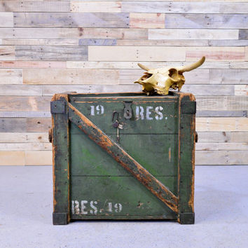 LARGE Vintage Wood Shipping Crate, Wood Millitary Trunk, Army Reserve Wood Trunk