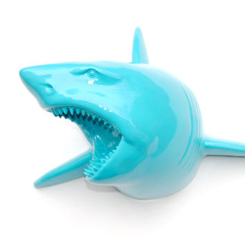 Faux Taxidermy Large Turquoise Shark Wall Mount - Faux Taxidermy LSH61
