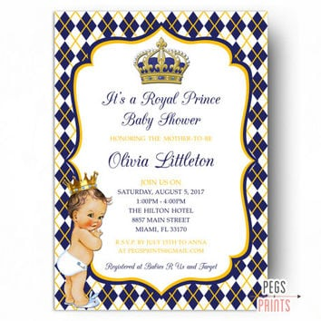 Royal Baby Shower Invitation Boy - Royal Prince Baby Shower Invitation - Royal Prince Baby Shower Invitations PRINTABLE - Little Prince