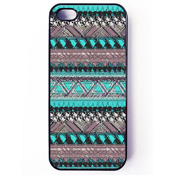 Iphone 5 Case - Aztec Pattern iPhone cover - plastic or rubber - turquoise, tribal