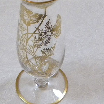 Vintage mini Vase -- floral clear crystal bud vase painted with 22kt gold poppies
