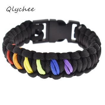 BRACELET JEWELRY LGBT Gay Pride Rainbow Color Beads Braided Rope Adjustable