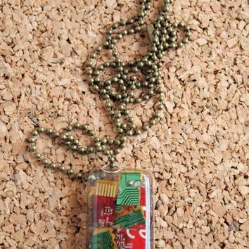 Resin PC Charm Necklace - computer parts motherboard pieces green red gold epoxy charm rectangle bronze ball chain FREE shipping to USA