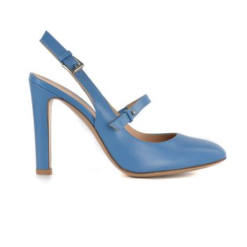 Gianvito Rossi Women's Blue Leather Ankle Strap Buckled Heels