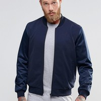 ASOS Bomber Jacket With Mesh Sleeve in Navy at asos.com