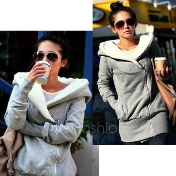 Korea Women Hoodie Jacket Coat Warm Outerwear Hooded Zip VVF = 1920052100