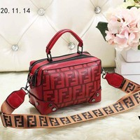 FENDI New Fashionable Women Shopping Bag Leather Handbag Tote Shoulder Bag Satchel Red