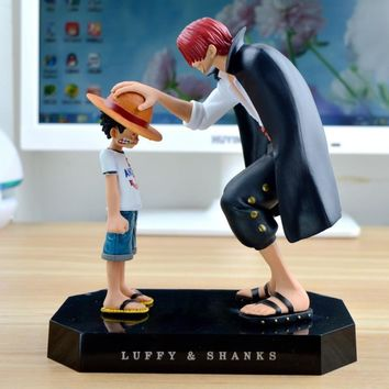 One Piece action figures/ Anime Straw Hat Luffy Shanks red hair ornaments gift doll toy