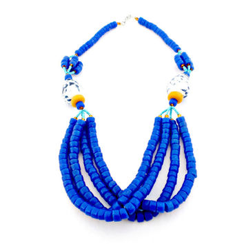 dark blue glass bead necklace and earring set made in Ghana fair trade African jewelry unique fashion accessories gifts for women mom