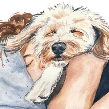 Woman Dog Watercolor PRINT - 5x7 Illustration Print, Nap Time, Poodle Mix, Funny Painting