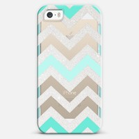 TIFFANY SILVER CHEVRON MINT Crystal Clear iphone case iPhone 6 case by Monika Strigel | Casetify