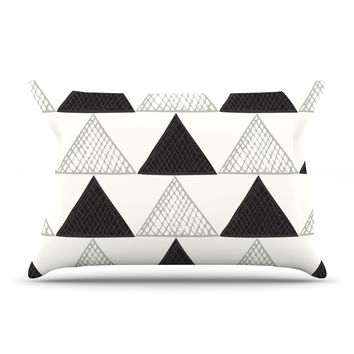 "Laurie Baars ""Textured Triangles"" Geometric Abstract Pillow Case"