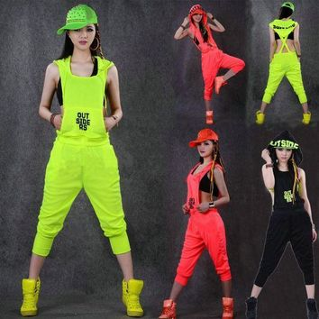 PEAPGC3 Hip Hop Dance Costume performance wear women romper European playsuit loose overalls harem jazz  jumpsuit one piece Pants