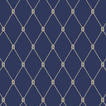 Sample Knot Trellis Wallpaper in Navy and Grey design by York Wallcoverings