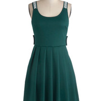 ModCloth Mid-length Sleeveless A-line Crisscross Country Trip Dress in Jade