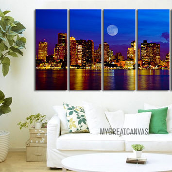 Large Wall Art Canvas Print Boston Skyline at Night 5 Panel - Framed - Streched Boston Panorama Canvas Printing