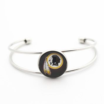 New Style 1pcs Copper Bracelet Glass Print Football Team Washington Redskins Silver Sports Bracelet Bangles Jewelry
