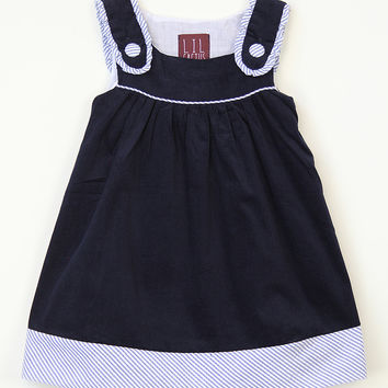 Lil Cactus Navy Blue Seersucker Dress - Infant, Toddler & Girls | zulily