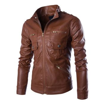 Trendy Herobiker Motorcycle Jackets Men Vintage Retro PU Leather Jacket Punk Windproof Biker Racing Classical Casual Bomber Moto Jacket AT_94_13