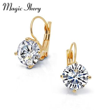 Magic Ikery New Gold Jewelry Big Zircon Crystal Gold & Silver Color Hoop Earrings for Women Luxury Wedding Bridal Jewelry
