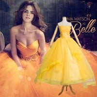 Fantasia Women Halloween Cosplay New 2017 The Beauty And The Beast Adult Princess Belle Costume Yellow Long Dress