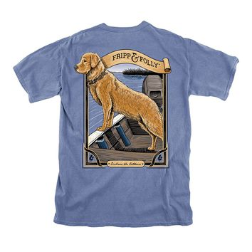 Dog & Jon Boat T-Shirt in Marine Blue by Fripp & Folly