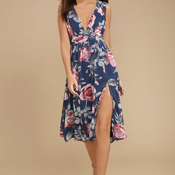 Queen of Hearts Navy Blue Floral Print Midi Dress