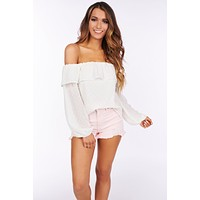 Endless Stories Off The Shoulder Top (Cream)
