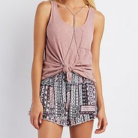 PRINTED SMOCKED SHORTS