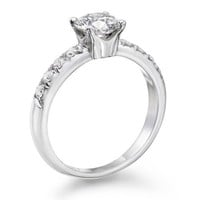 Certified, Round Cut, Solitaire Diamond Ring in 14K Gold / White (1 ct, J Color, I1 Clarity)