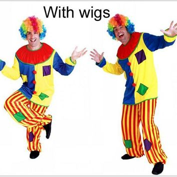 Cool Cosplay adult party Clown costume including clown clothe trouse colorful wig C30126AT_93_12