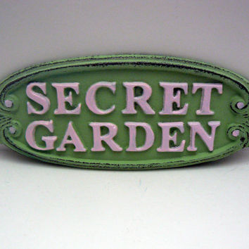 Secret Garden Wall Plaque Sign Cast Iron Shabby Chic Mint Green Raised Letters Pink Metal Oval Oblong Ornate Scroll Accented Wall Door Sign
