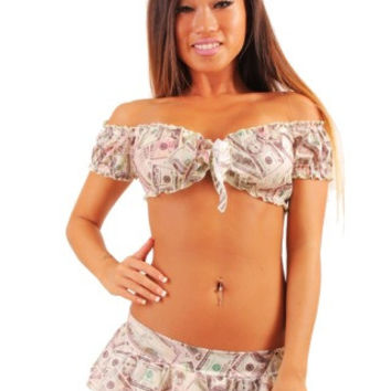 Sexy Pole Dancers Money Print Mini Skirt