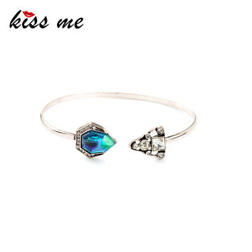 Personality Asymmetry Crystal Silver Plated Open Charming Cuff Bracelet Bangle Factory