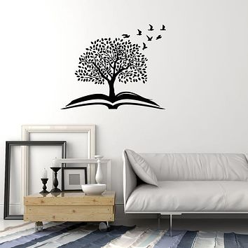 Vinyl Wall Decal Magic Tree Open Book Reading Room Library Stickers (3669ig)