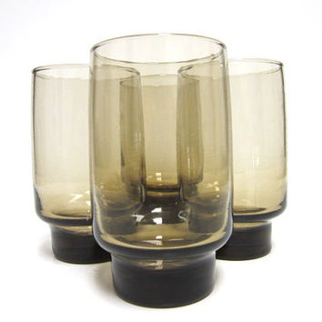 Four 1950s Amber Topaz Drinking Glasses with Heavy Base - cocktails juice water - mid-modern retro mad men