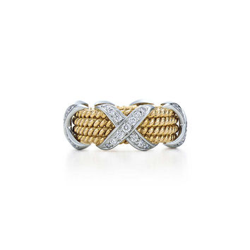 Tiffany & Co. - Tiffany & Co. Schlumberger® Rope four-row X ring in 18k gold with diamonds.