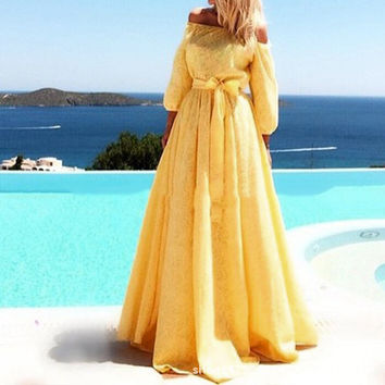 Top Fashion 2017 Elegant Womens Sexy Dress Floral Crochet Long Maxi Dress Off Shoulder Party Dresses