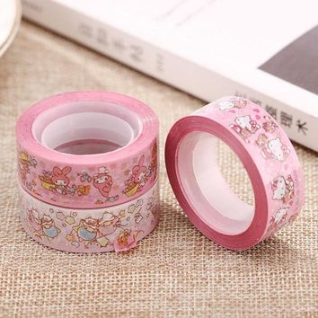 1 Pcs Kawaii My Melody Hello Kitty Popular Cat Washi Tape Adhesive Tape DIY Scrapbooking Sticker Label Masking Tape 15M