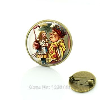 Alice In Wonderland Jewelry Glass cabochon pins Croquet with Duchess Flamingo Christmas gift Vintage cartoon movie Brooches C210