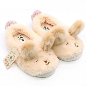 Winter Lovers Bunny Plush Slippers