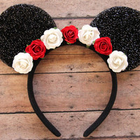 Flower Mickey Ears, Floral Mickey Ears, Rose Mickey Ears, Disney Ears, Custom Mickey Ears, Disneyland Ears, Flower Mouse Ears, Flower Ears